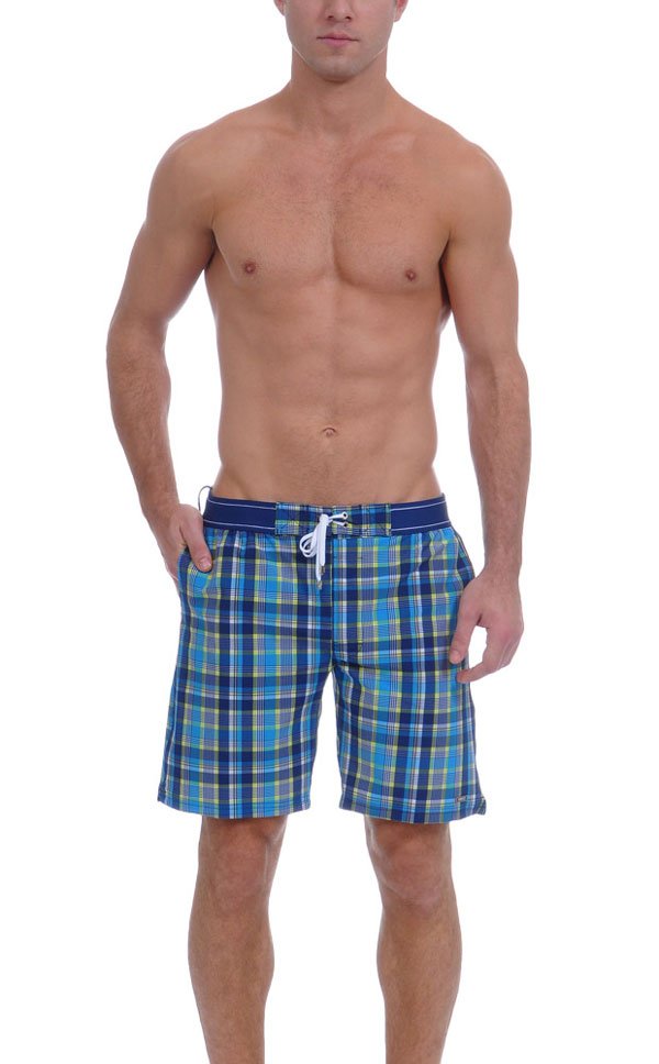 2xist Summer Plaid Board Shorts Blue