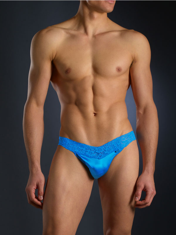 Bodyaware Silk and Lace thong Blue