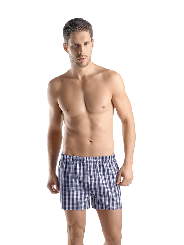 Hanro Fancy Woven boxer shorts midnight check