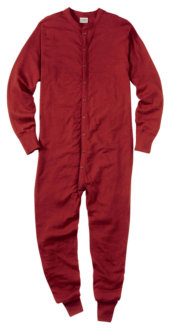 LL Bean union suits Red